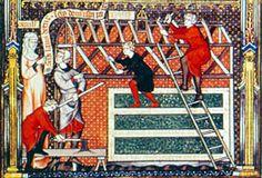 Les charpentiers travaillant à la basilique, manuscrit vers 1317.