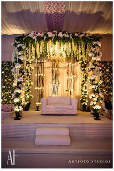 Looking for White theme floral stage decor? Browse of latest bridal photos, lehenga & jewelry designs, decor ideas, etc. on WedMeGood Gallery. Wedding Hall Decorations, Desi Wedding Decor, Wedding Mandap, Engagement Decorations, Wedding Ideas, Trendy Wedding, Wedding Venues, Wedding Photos, Marriage Decoration