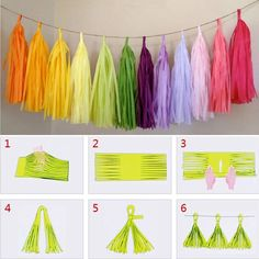 diy tissue paper tassel garland party wedding decoration Tassle Bunting diy tissue paper t Tissue Paper Tassel, Tissue Paper Crafts, Paper Streamers, Tissue Paper Decorations, Paper Paper, Diy Bunting Paper, Streamer Decorations, Mason Jar Crafts, Mason Jar Diy