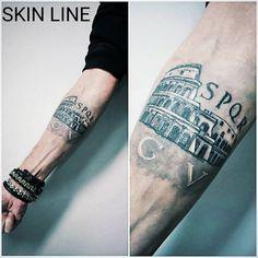 "33 Likes, 2 Comments - skin line tattoo e piercing (@skin_line_tattoo_e_piercing) on Instagram: ""#colosseum #tattoo #colosseumtattoo #blackandwhite #SPQR #italiantattoo #italianartist #inked…"""