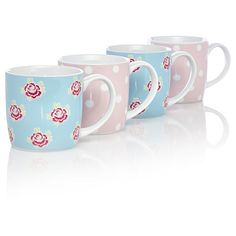 Flowers and Polkadot Mugs