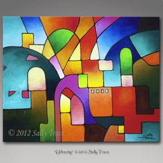 Abstract Giclee Gallery Wrap Print, urban art, urban painting, Urbanity, by Sally Trace