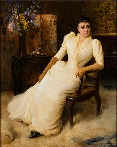 Madame Cohen Albert Edelfelt (Finnish, Oil on canvas. Madame Cohen is seated in a rococo rattan chair, wearing a white dress, long gloves in yellowish-beige chamois leather and. 1890s Fashion, Fashion Art, Fashion Portraits, 19th Century Fashion, Long Gloves, Classical Art, Sculpture, Gravure, Antique Art