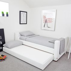 No space for two beds or a bunk bed? Then get sneaky with your modern guest bedroom by incorporating a trundle bed. Modern Baby Furniture, Kids Bedroom Furniture, Bedroom Decor, Cheap Furniture, Furniture Layout, Furniture Online, Furniture Stores, Wooden Furniture, Luxury Furniture
