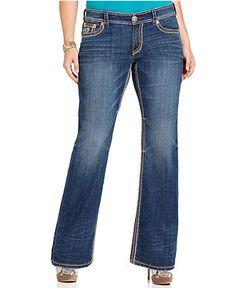 Seven7 Jeans Plus Size Jeans, Paris Embroidered Bootcut, Hunt Wash ...
