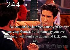 Friends #244 - So I couldn't be happier that you are marrying Monica. But if someday you ever hurt her, I will hunt you down and kick your a**