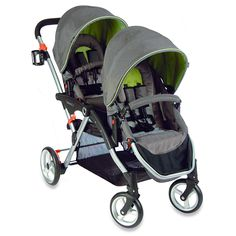 The Contours Options LT Tandem has reversible seats, can accept a number of infant car seats, folds with both seats on and is available at buybuy BABY in the exclusive Hudson Green fashion. Britax Double Stroller, Double Stroller Reviews, Best Double Stroller, Double Strollers, Best Twin Strollers, Baby Strollers, Side By Side Stroller, Baby Gadgets, Prams