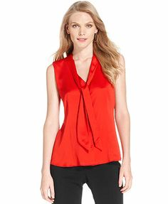Anne Klein Blouse, Sleeveless Bow-Front Colorblocked poppy red medium