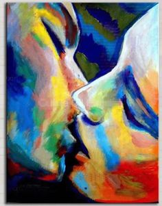 Pretty kiss painting. Couple kissing painted in beautiful colors and shadows.