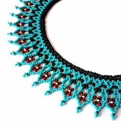 Turquoise lace necklace of beads Seed bead collar for women Netted openwork necklace Beadweaving necklace Handmade statement jewelry in gift hashtags Lace Necklace, Beaded Earrings, Beaded Jewelry, Jewelry Box, Beaded Collar, Beaded Lace, Lace Collar, Handmade Beads, Handmade Necklaces