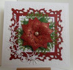 Catty Creations: Poinsettia Christmas Card