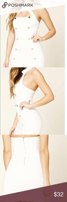 Buttoned Mock Neck Halter Dress New! Back Zip. Inside slip. 95% Polyester / 5% Spandex. Forever 21 Dresses