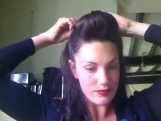 **EASY** QUICK***Pin Up Pomp ** I am growing out my bob cut and have baby fine hair. and I do this for work using hair combs. I have gotten soooo many compliments on this style with my hair. 50s Hairstyles, Vintage Hairstyles, Pin Up Hair, Big Hair, 50s Hair Tutorials, Up Girl, Hair Videos, Hair Inspiration, Creative Inspiration
