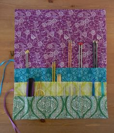 Nesting Sticks: Knitting Needle & Crochet Hook Roll-Up {Tutorial} adapt for pencils, school supplies!
