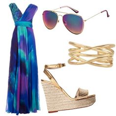 What to Wear: The Destination Wedding - Think airy and colourful in your attire for a wedding on the beach—shades and bangles are your must-have accessories. Go for a vibrant maxi dress and wedge heels—sure, you can kick them off on the sand during the ceremony, but you'll need them later for dancing under the stars at the reception. Wedding Reception Outfit, Beach Wedding Attire, Summer Wedding Guests, Dress Wedding, Wedding Beach, Trendy Wedding, Yacht Wedding, Summer Weddings, Casual Wedding