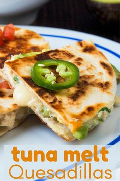 A twist on the classic tuna melt, these easy quesadillas have melty cheese, avocado, tuna salad and pico de gallo. Great for game day snacking. #quesadillarecipes #gamedaysnacks #appetizerseasy