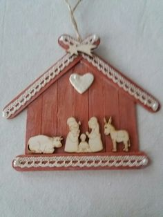 Craft Stick Projects, Popsicle Stick Crafts For Kids, Popsicle Stick Houses, Craft Stick Crafts, Wood Crafts, Diy And Crafts, Homemade Christmas, Diy Christmas Gifts, Christmas Fun