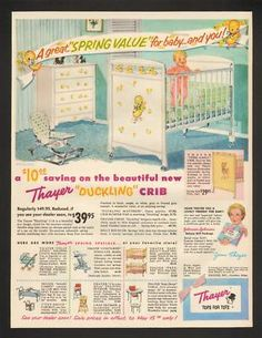 1956 Thayer Ducklings Baby Nursery Furniture Print Ad... Would Be Pretty To  Frame