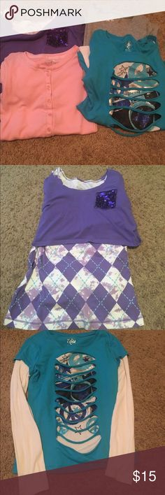 Bundle of Girls justice blouses 10/12 Justice bundle girls size 10/12 1 is size 16 but fits like 12. Gently used, no stains, no rips Justice Shirts & Tops Blouses