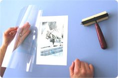 Inkjet Image Transfers:  An inkjet printer, A digital photo,   Copier transparency film — the kind for plain paper copiers, not the inkjet stuff, Something to transfer your image to: watercolor paper, sanded wood, cardstock, moleskine journals,  Smooth fabric (you wouldn't be able to wash it afterwards, unless your printer uses waterproof ink), Blank greeting cards and envelopes