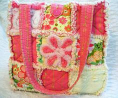 Pink Retro Rag Quilt Tote, Vintage Chenille by P and J Crafts, via Flickr