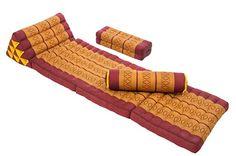 Thai Cushion Set (red-orange) foldable mattress with 2 meditation pillows
