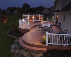 Diy patio deck ideas outdoor lighting ideas for patios deck railing lighting ideas with solar lights Best Deck Stain, Whirlpool Deck, Outdoor Deck Lighting, Landscape Lighting, Hot Tub Deck, Cool Deck, Big Deck, Decks And Porches, Front Porches