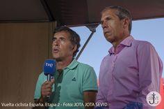 Perico Delgado y Carlos de andrés retrasmitiendo como todos los años para TVE