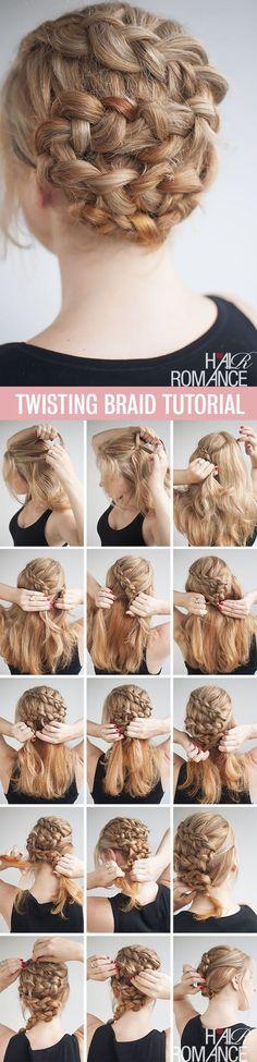 Twisting braid hairstyle tutorial                                                                                                                                                                                 More