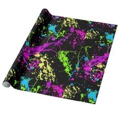 Shop Black Colorful Neon Paint Splatter Pattern Wrapping Paper created by cutencomfy. Bright Color Schemes, Neon Painting, Gift Wrapping Supplies, Online Gift Shop, Matching Gifts, Pretty Packaging, Paint Splatter, Neon Colors, How To Make Bows