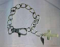 SALE Wing and Pewter Howlite Cross Charm by blingbychristine, $5.00