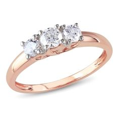 rose gold engagement rings   ... products > Round Three Stone Trilogy Engagement Ring in 14k Rose Gold