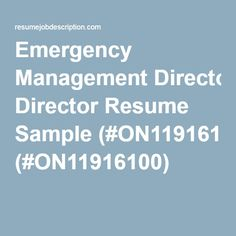 Emergency Management Director Resume Sample (#ON11916100)