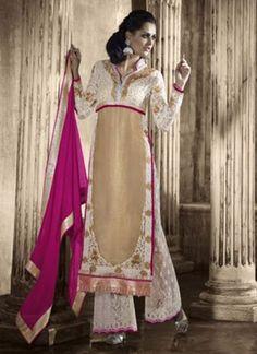 Angelic Cream And Magenta Designer Salwar Suit