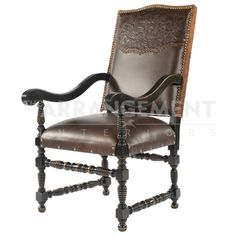 Grand King Dining Chair  This Grand King Dining Chair is complete with significant features: rich leather seating, hair backing, curved arms for comfort, and a wider seat. These details, paired with the hand carved wood and hand tooled leather design on the back, give these dining chairs a monumental presence.