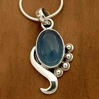 Blue chalcedony pendant necklace, 'Hindu Harmony'