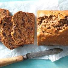 A moist, dense, gluten-free bread, with a mild hint of cinnamon and a sweet surprise inside: chocolate chips.