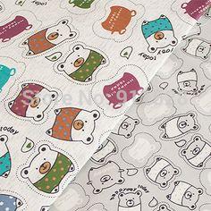 """Cheap Cute Little Bears Impreso 100 % sarga de algodón Tela para niños Ropa de cama Sábanas prendas Tilda Cloth por Meter Patio 160cm 63 """"de ancho, Compro Calidad Telas directamente de los surtidores de China:                                                                                   Material:"""