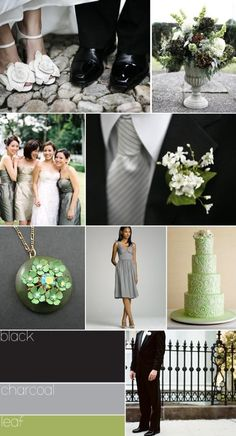 these will be my wedding colors black, charcoal, and leaf. Wedding Color Schemes, Wedding Colors, Green Wedding, Our Wedding, Fall Wedding, Wedding Stuff, Charcoal Wedding, Charcoal Gray, Color Inspiration