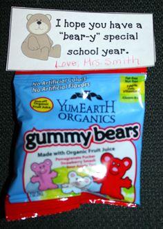 Back To School Gummy Bear Treats. FREE tag template.
