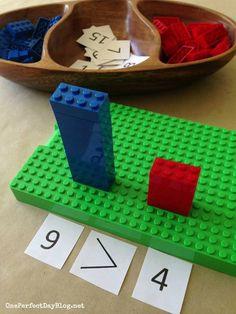 Playful learning with Lego math games. What a simple and fun way to learn math c… Playful learning with Lego math games. What a simple and fun way to learn math concepts. Lego Math, Lego Duplo, Math Classroom, Kindergarten Math, Teaching Math, Math Literacy, Numeracy, Elementary Math, Teaching Ideas