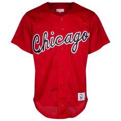 Chicago Bulls Men's Red Button-Up Baseball Jersey by Mitchell & Ness #Chicago #Bulls #ChicagoBulls