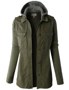 LE3NO Womens Military Anorak Sarafi Hoodie Jacket with Pockets