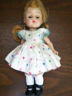 """Vintage 8"""" Vogue Ginny Molded Lash Bent Knee walker Doll 1957 to 1962"""