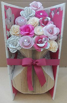 Folded Book Art Vase with Flowers Handmade Decorative Item Handcrafted Book