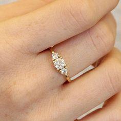 three stone engagement ring 1ct diamond Gold handmade
