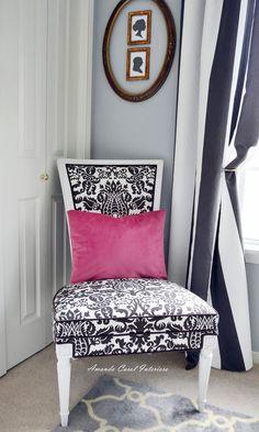 black white chair fabric damask modern