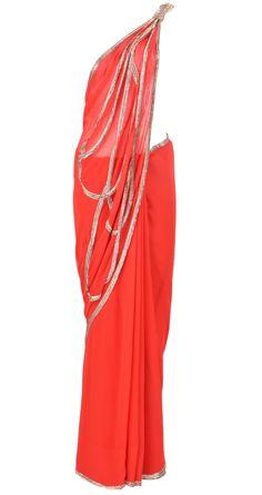 Red sari with kat dana detailing by GAURAV GUPTA. Shop at https://www.perniaspopupshop.com/valentines-special/gaurav-gupta-2