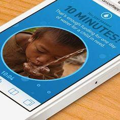 Unicef Tap Project, me gusta! Por cada 10 minutos que no toque su teléfono, un sponsor suministrará 1 día de agua limpia para niños que la necesitan!