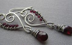 Wire Wrapped Earrings with Garnet Drops/ Artisan Earrings by mese9